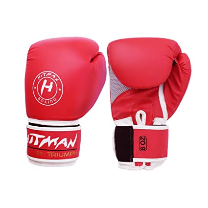 Buy Hitman Gb04489 Synthetic Leather Triumph Force Print Boxing Gloves 10 Oz Red White Online At Low Prices In India Amazon In