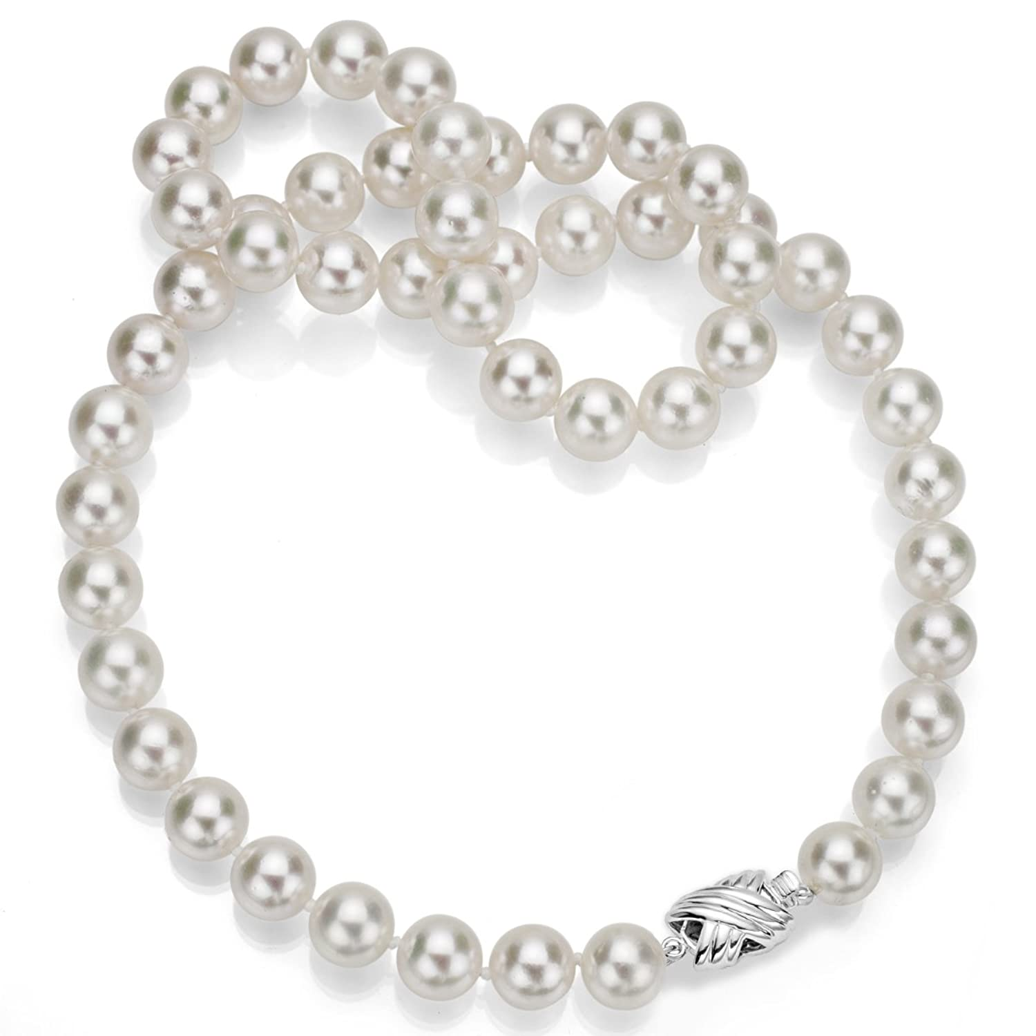 14k White Gold Aaa White Japanese Akoya Cultured Pearl Doublesided Clasp  Necklace, 18