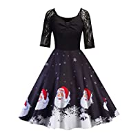2018 NewStyle Women Vintage Dress,Ladies Christmas Half Sleeve Lace Patchwork Printing Vintage Gown Party Dress Fashion Elegant Evening Dresses Swing Dress