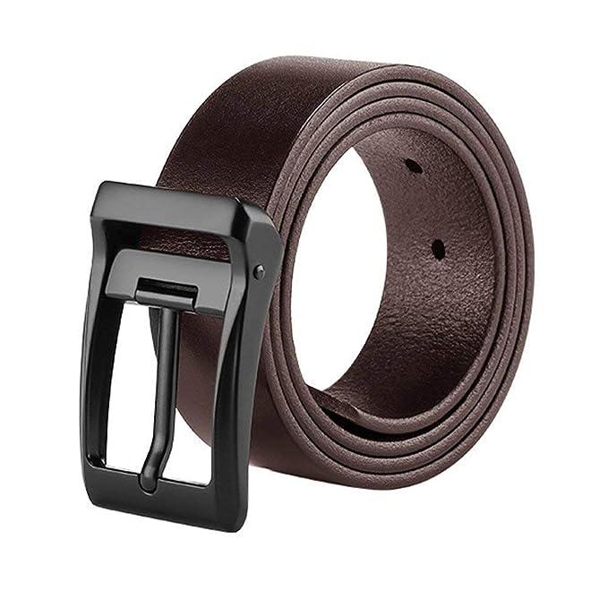 Cinturón Para Hombres Jóvenes Pantalones Casuales Cuero Con Cinturón Clásico  De Cuero Puro 115 Cm Color Café Cinturón Hebilla Negra Chicos  Amazon.es   Ropa ... da5bf83b377a