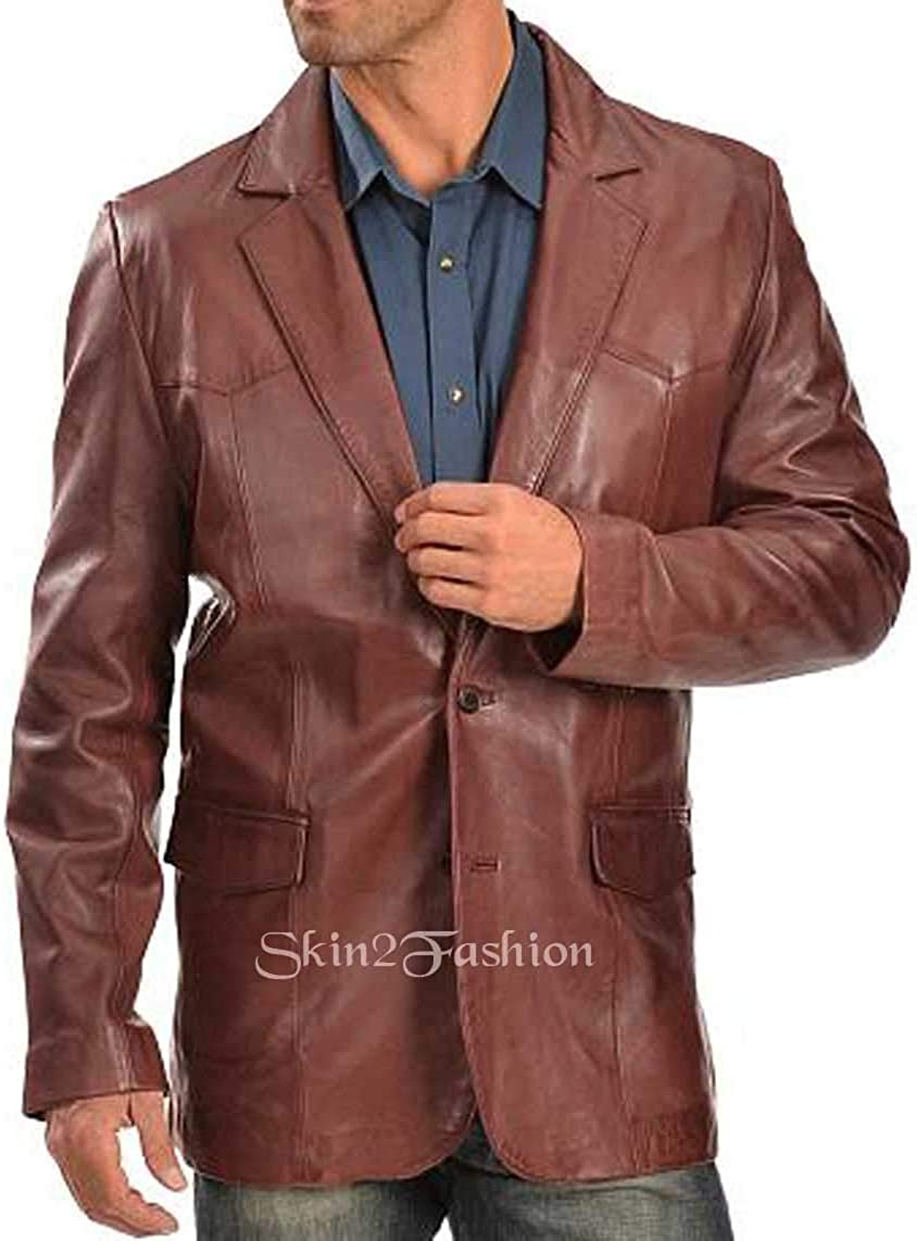 Mens Leather Blazer Classic Real Leather Coat 17