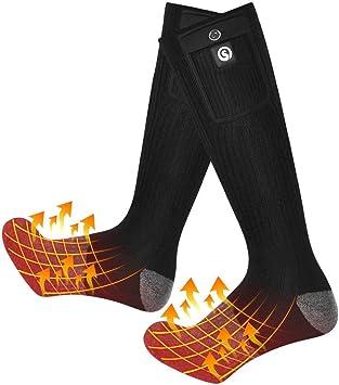 Hiver Thermiques Chaussettes pour Hommes Femmes Chauffe-pieds pour Cyclisme Ski Camping Randonn/ée Chasse Chaussettes Chauffantes /Électriques Rechargeables avec 3 Fichiers de Temp/érature R/églable