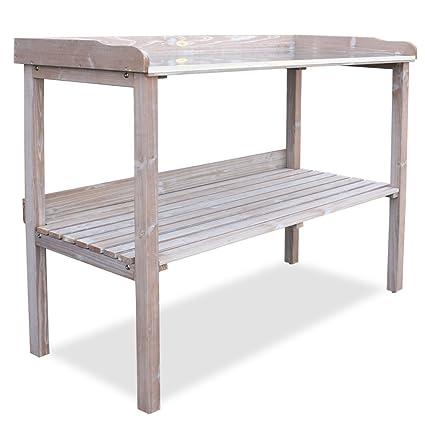 HABAU 3108 Table de jardin avec plan de travail en métal Blanc ...