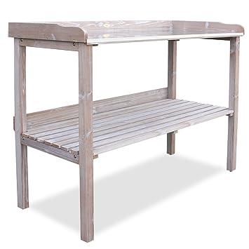 habau 3108 table de jardin avec plan de travail en mtal blanc antique