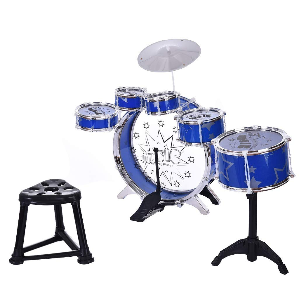 Kids Jazz Drum Set, Little Rockstar Kit to Stimulating Children's Creativit,12-Piece Kids Starter Drum Set-6 Drums Cymbal Computer Chair Kick Pedal Christmas Toy Gift (Blue) by Lucoo
