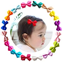 4462d31ce49c0 Ruyaa 2 Inch Tiny Hair Bows Clips Fully Lined for Baby Girls Fine Hair  Infants 20pcs