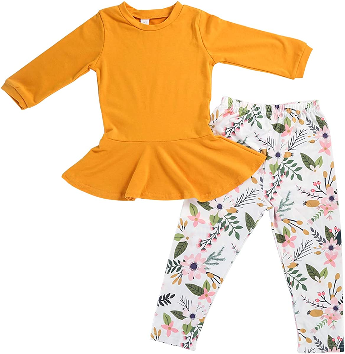 Yudanny Girls Outfit Clothes Long Sleeve Top Dress /& Floral Pant Set for 6-7 Years Old