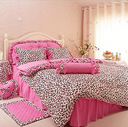 LELVA Pink Leopard Print Princess Bedding Sets, Cotton Ruffle Bedding Set, Bedding  Sets Korea