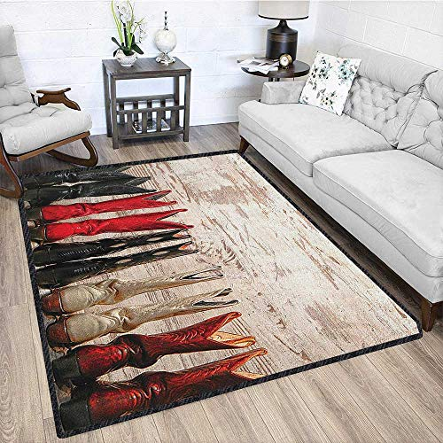 - Western Print Area Rug,American Legend Cowgirl Leather Boots Rustic Wild West Theme Cultural Print Machine Washable Beige Red Black 67
