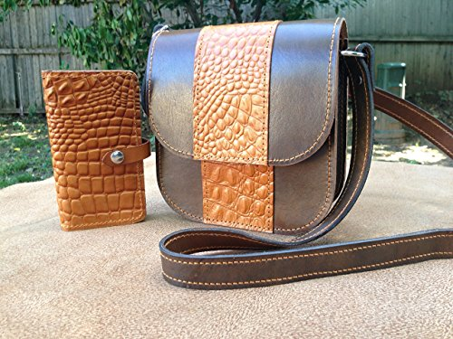High Quality Handmade Genuine Leather Cross body & Wallet Set Croco Embossing by sycadaleather