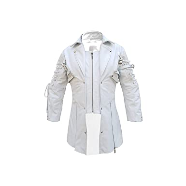 on sale online hot-selling discount hot-selling real Mens Coat Real White Matrix Trench 100% Real Leather Coat ...