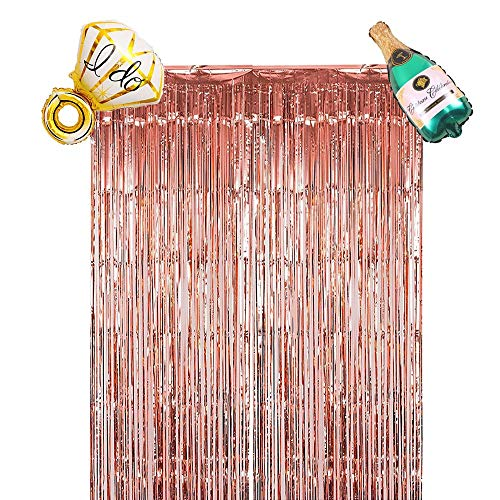 Metallic Foil Fringe Curtain,(3.2x 9.8 ft) 1 pack Decorations for Christmas, Birthday,  bachelorette Backdrop, w/ ring and Champagne balloon, bachelorette party decorations set -