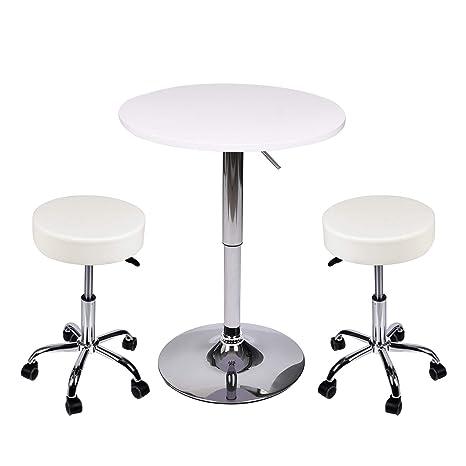 Surprising Amazon Com Yourlite Pub Table And Chair Set Set Of 2 White Inzonedesignstudio Interior Chair Design Inzonedesignstudiocom