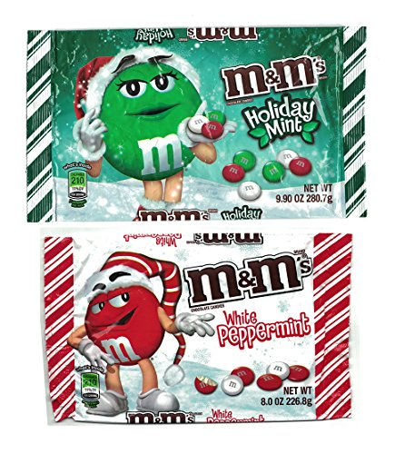 M&Ms White Peppermint and Holiday Mint Chocolate Candies Bundle: 1 8oz Bag White Peppermint and 1 9.9oz Bag Holiday Mint -