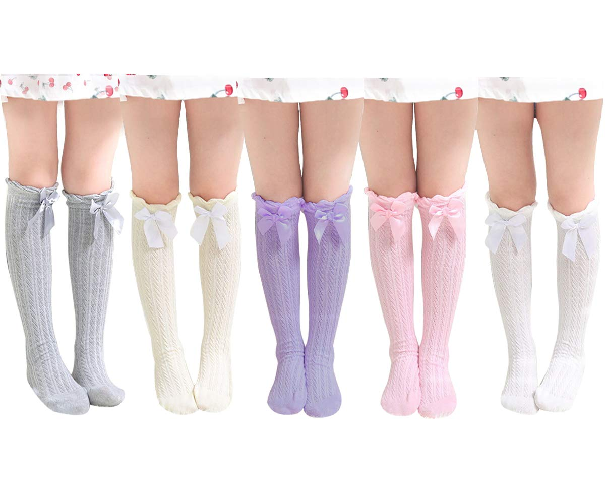 BOOPH Girls Knee High Stockings Cotton Bowknot Socks 5 of Pack