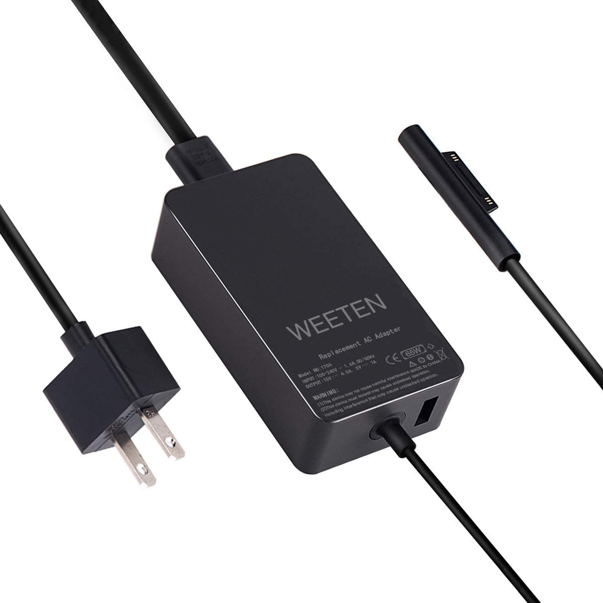 WEETEN 65W 15V 4A Surface Power Supply Compatible with Microsoft Surface Pro 3 Pro 4 Pro 5 Pro 6, Surface Book 1 Surface Laptop, Surface Go, Replacement AC Adapter Charger Cord 1706