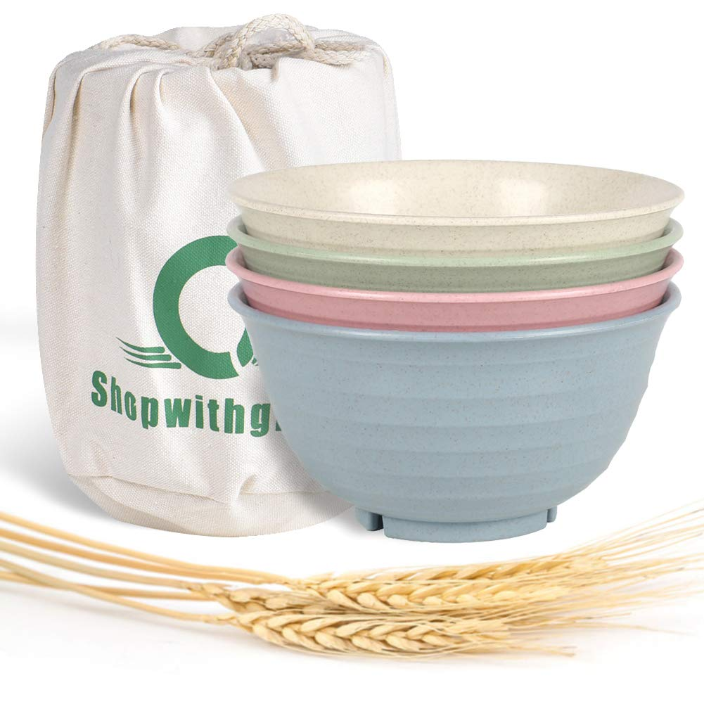 Shopwithgreen Unbreakable Large Cereal Bowls - 30 OZ Wheat Straw Fiber Lightweight Degradable Bowl Sets 4 - Dishwasher & Microwave Safe - Eco-Friendly - for Cereal,Salad,Soup, Noodle, 4 Pieces
