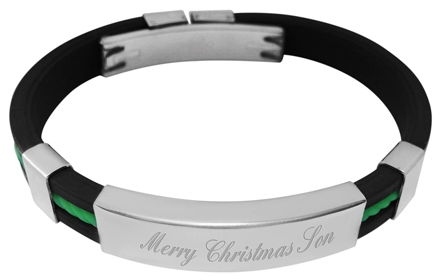 Luxury Engraved Gifts UK Mens Merry Christmas Son Rubber /& Steel Identity Id Bangle Bracelet YD