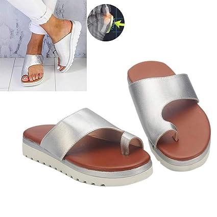 Sandalias de Mujer cómodos Plana Cuero de PU Zapatillas Corrector de juanetes ortopédico Casuales Antideslizante Respirable