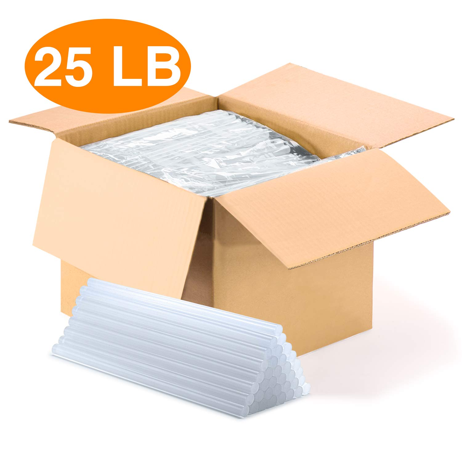 25LB Hot Glue Sticks Clear Full Size 10'' Length x 0.28'' Diameter Compatible with Full Size Industrial Glue Guns No Ordor,Good Adhesion,Few Bubble,Quickly Melting Meeting Your DIY Needs