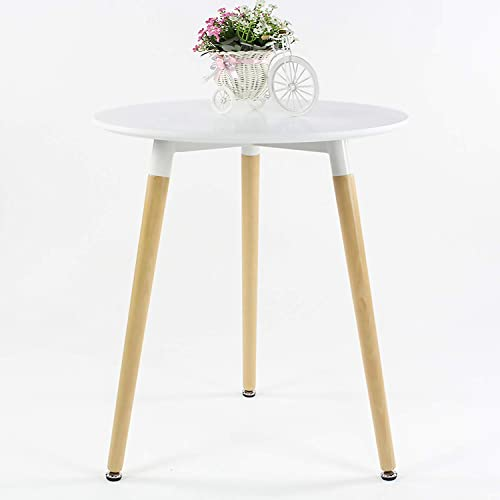 ME2 Kitchen Round Dining Table,Modern Lesiure Coffee Table,Office Conference Desk with Wooden Legs and White Top for Kitchen Dining Room.White