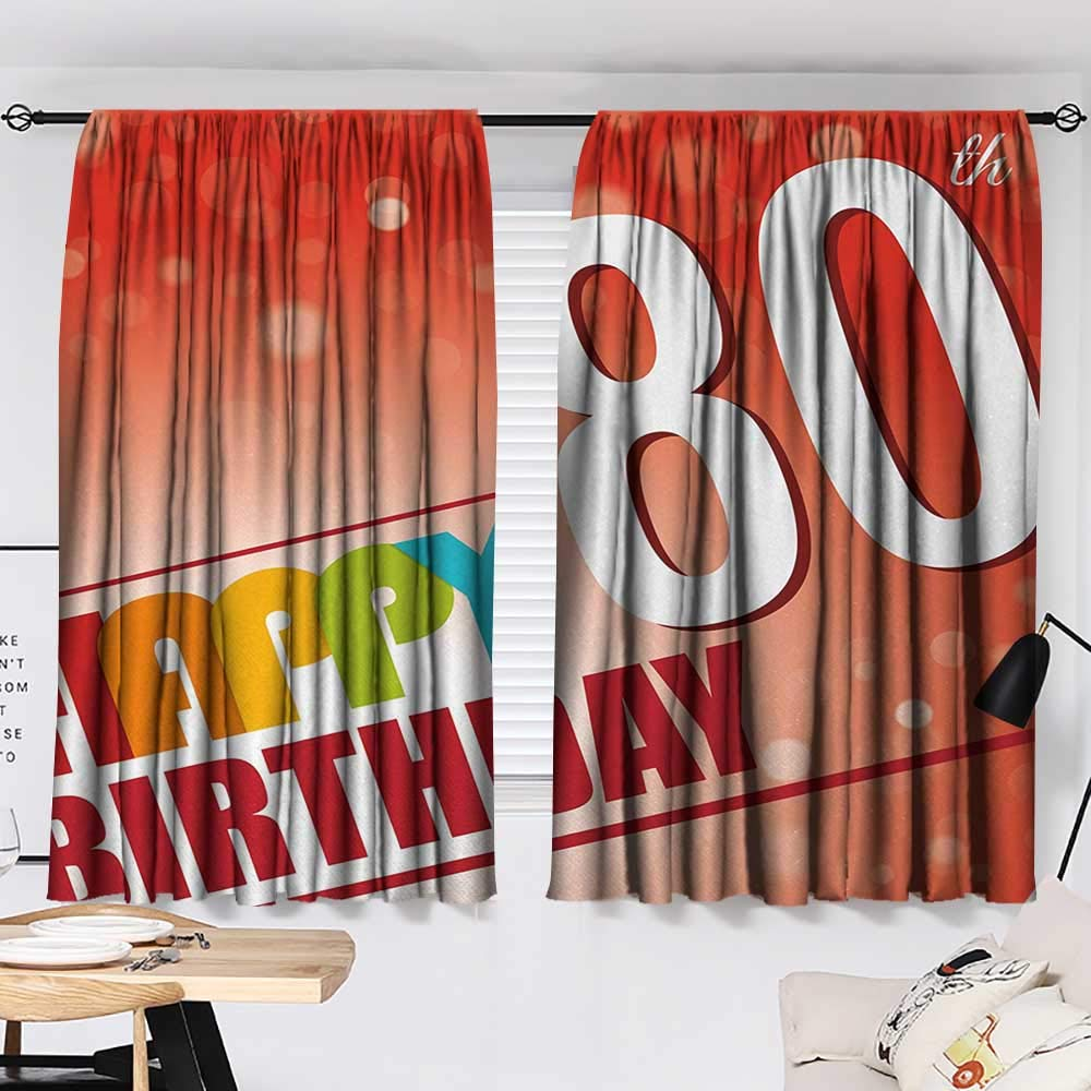 Jinguizi 80th Birthday Curtain for Bedroom 80 Wise Age Colorful Birthday Party with Abstract Background Decoration Darkening Curtains Red Vermilion and White W55 x L39 by Jinguizi (Image #2)