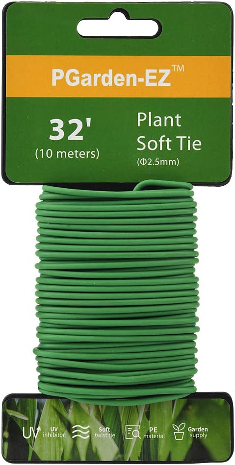 PGarden-EZ Green Soft Twist Tie Tomato Plant Tie TPR Garden Supply, for Supporting Plants and Home Organizing (32.8 feet/10 Meters)