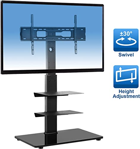 YOMT Floor TV Stand Base with Shelves for Most 32-65 inch LCD LED Flat or Curved Screen TVs,Swivel Universal TV Mount Stands for Corner Bedroom,Sturdy and Save Space,Black