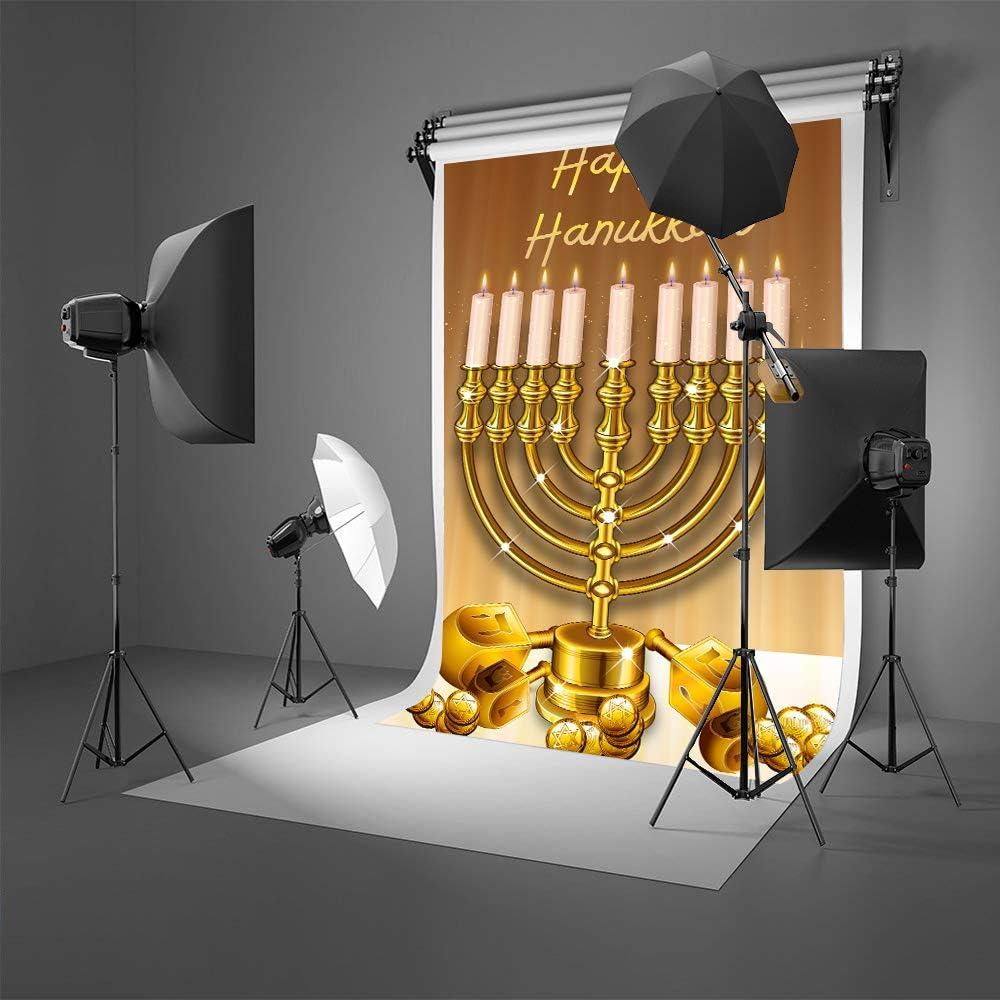 Laeacco Happy Hanukkah Background 7x5ft Jewish Holiday Photography Backdrop Cartoon Red Candlesticks Honey Shofar Flowers Coins Herbs Dessert Cakes Holy Festive Greet Portrait Shoot Decor Poster