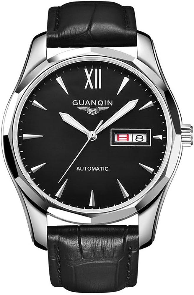 Guanqin - Reloj de pulsera para hombre luminoso. analógico, automático (autocuerda), con carcasa de acero de tungsteno y correa de piel