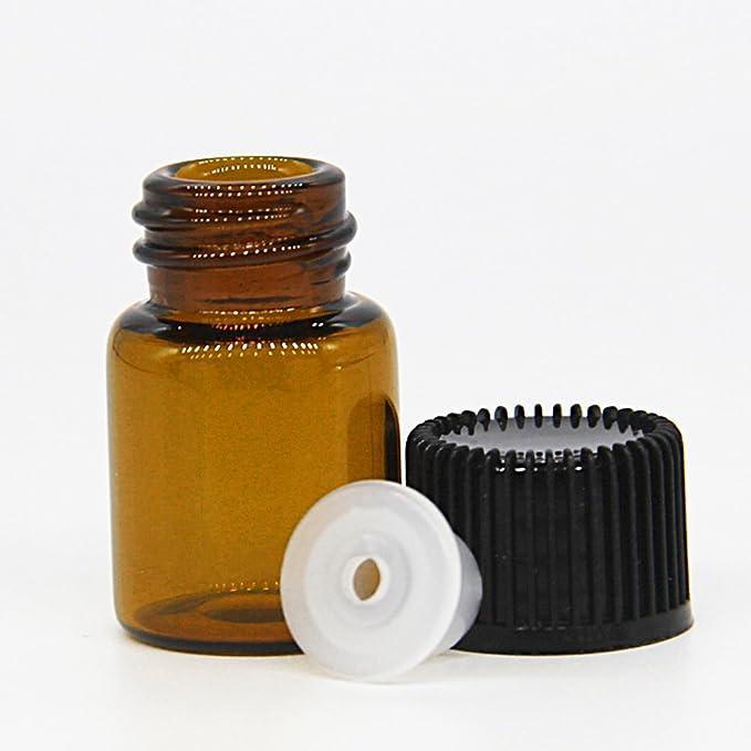 One Trillion,2ML Botellas de Vidrio de Muestra Vacía de Color ámbar con Reductores de Orificio y Tapas Negras Para Aceites Esenciales, Aromaterapia,Perfumes ...