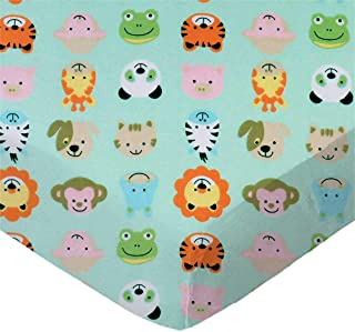 product image for SheetWorld Fitted 100% Cotton Flannel Pack N Play Sheet Fits Graco Square Play Yard 36 x 36, Animal Faces Aqua, Made in USA