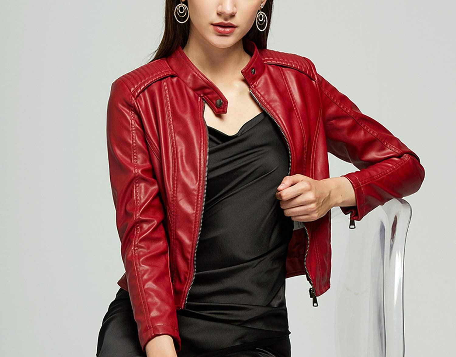Spring Autumn Women's Leather Jacket Jacket PU Women's Leather Jacket Orange