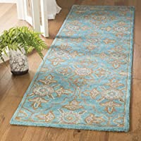 Safavieh Heritage Collection HG870A Handcrafted Traditional Turquoise and Multi Wool Runner (23 x 8)