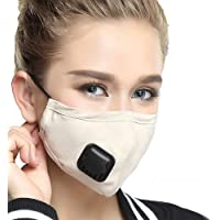 Pollution Mask Military Grade N99 Anti Dust+2 Filters Washable Cotton Respirator with Adjustable Ear Strap/Allergy/Cycling/Running/Hiking/Painting/Cleaning/Construction (Women-Beige)