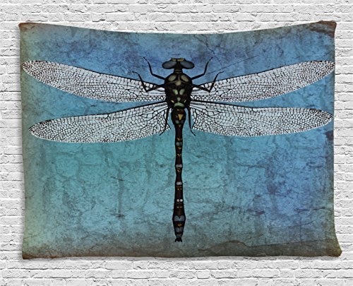 Dragonfly Tapestry, Grunge Vintage Old Backdrop and Dragonfly Bug Ombre Image, Wall Hanging for Bedroom Living Room Dorm, 60 W X 40 L Inches, Dark Blue Turquoise and Black (Dragonfly Tapestry Wall Hanging)