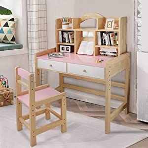 UTPO Kids Study Desk and Chair Set, Adjustable Height Wooden Sturdy Reading Desk with Tilted Desktop, Drawers and Bookshelves, Useful Furniture Study Table for Boys Girls Reading, Writing, Drawing