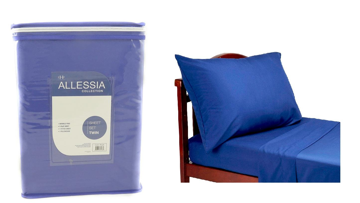Allesia Collection Royal Blue Twin Size Sheet Set Back To School College Dorm