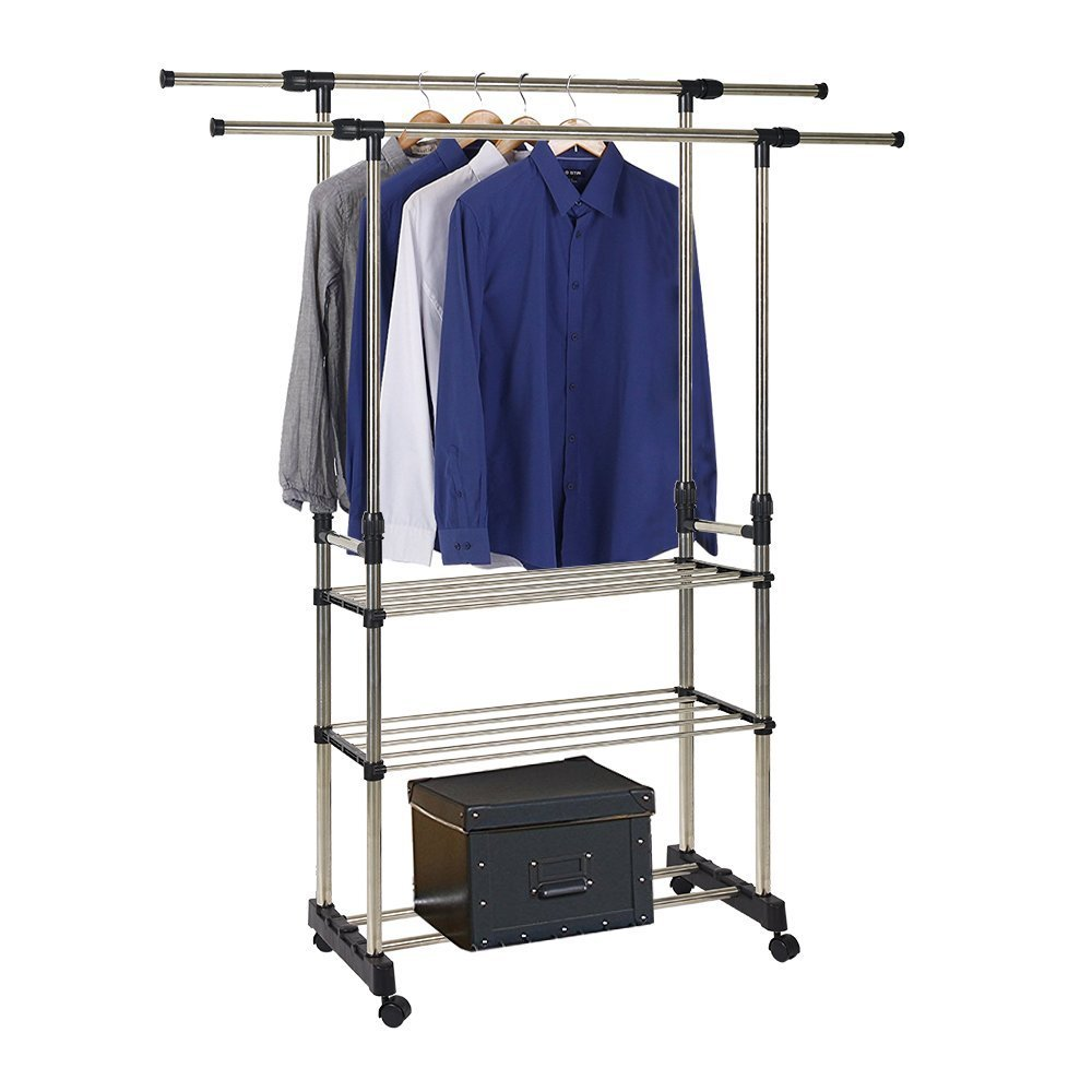 Dporticus Stainless Steel Clothing Racks Rolling Extendable Garment Rack with Storage Shelves (Double Rail)