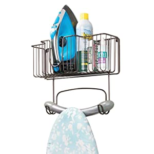 mDesign Wall Mount Metal Ironing Board Holder with Large Storage Basket - Holds Iron, Board, Spray Bottles, Starch, Fabric Refresher for Laundry Rooms