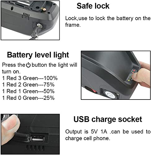 GoodPoint Art E-Bike Battery Lithium 52V 13AH Hailong Battery with USB for 1000W Motor USA Warehouse 52V 13AH