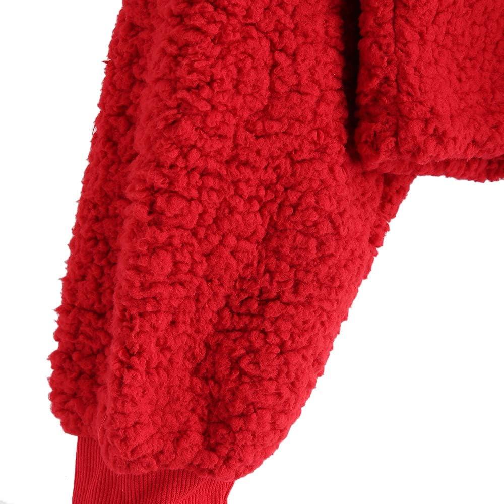 ZAFUL Womens Long Sleeve Hoodie Faux Fur Solid Color Crop Pullover Sweatshirt Tops