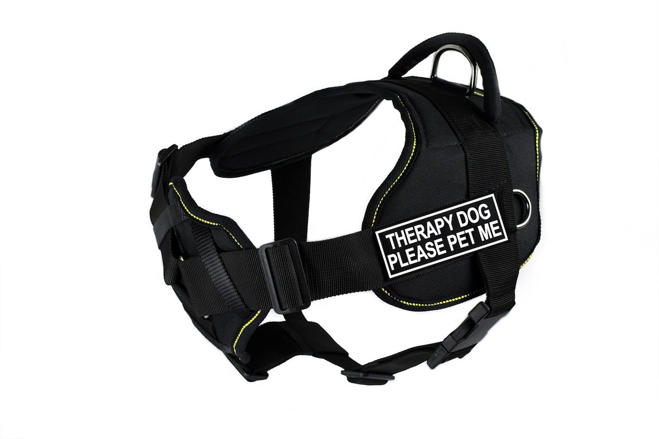 Dean & Tyler Black with Yellow Trim Fun Dog Harness with Padded Chest Piece, Therapy Dog Please Pet Me, Medium, Fits Girth Size 71cm to 86cm