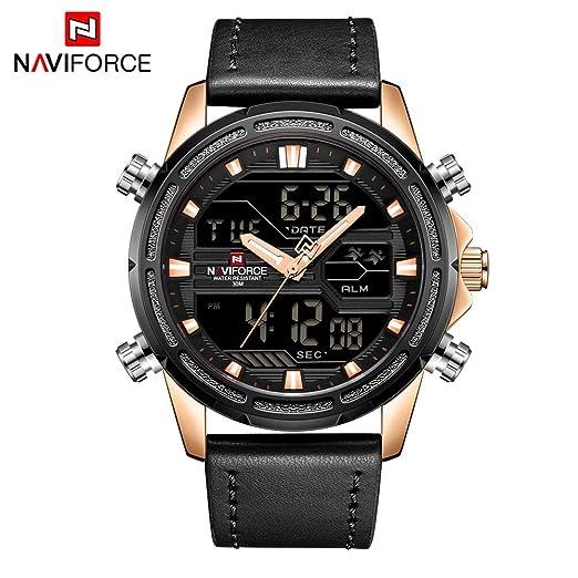 HWCOO Relojes NAVIFORCE NF9138 Reloj de Cuero con Movimiento Doble Pantalla Japonesa para Hombres Fecha Luminosa (Color : 3): Amazon.es: Relojes