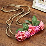 Wreath Head Flower Wrist Flower Crown Adjustable Ornament Fabric Rope Rattan Simulation Flower Head Headband Flower Decoration Watermelon Red