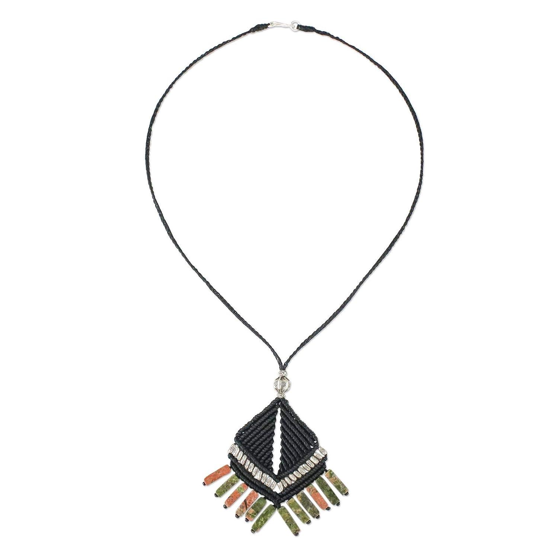 NOVICA Unakite .925 Sterling Silver Pendant Necklace 18 Hill Tribe Creativity