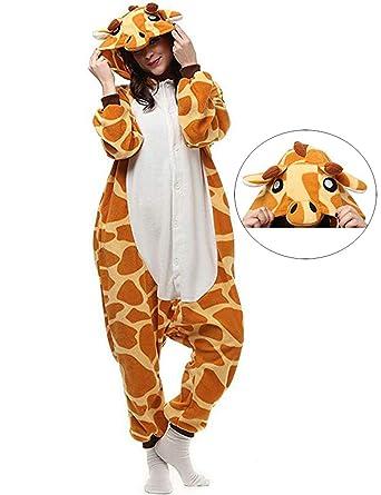 3c086af81b64 Giraffe Onesies Adult Pajamas One Piece Cosplay Halloween Costume Animal  Sleepwear for Women Men