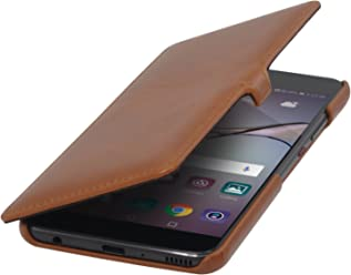 StilGut Book Type Case con Clip, Custodia a Libro Booklet in Vera Pelle per Huawei P10 Plus, Cognac