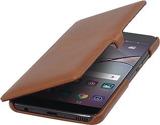 StilGut Book Type avec Clip, Housse en Cuir pour Huawei P10 Plus. Etui de Protection à Ouverture latérale avec Fermeture clipsée, Cognac