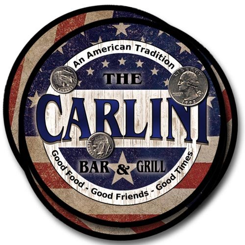 (Carlini Family Bar and Grill Rubber Drink Coaster Set - Patriotic Design)